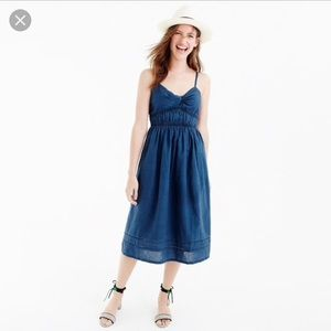 J. crew Smocked Twist-Front Dress Indigo